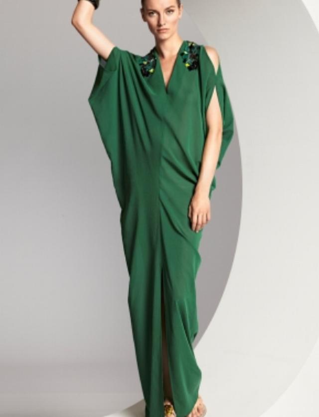 Robe longue olga verte