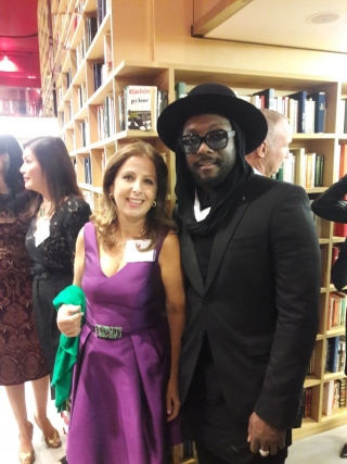 karine ohana with will.i.am who spoke in favor of Hilary clinton